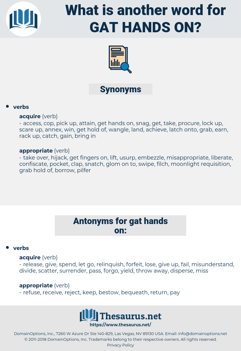 gat hands on, synonym gat hands on, another word for gat hands on, words like gat hands on, thesaurus gat hands on
