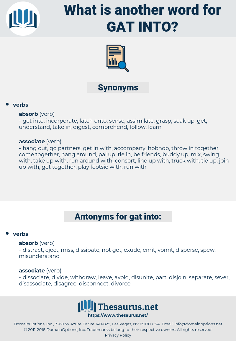 gat into, synonym gat into, another word for gat into, words like gat into, thesaurus gat into