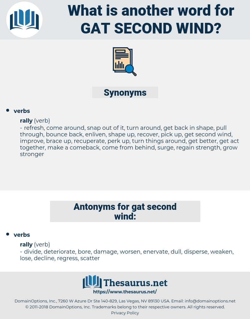 Synonyms For Gat Second Wind Thesaurus Net