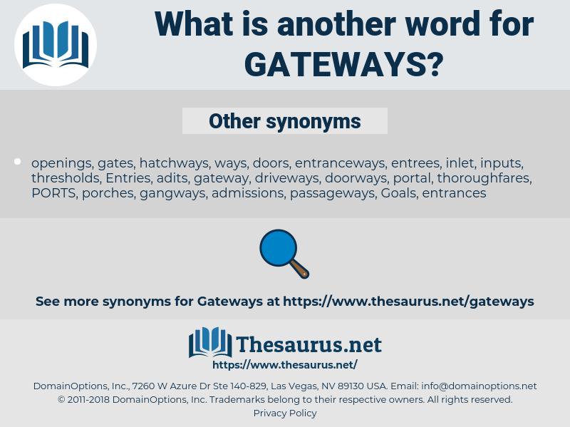 gateways, synonym gateways, another word for gateways, words like gateways, thesaurus gateways