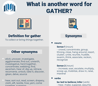gather, synonym gather, another word for gather, words like gather, thesaurus gather