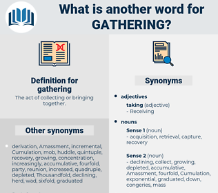 gathering, synonym gathering, another word for gathering, words like gathering, thesaurus gathering