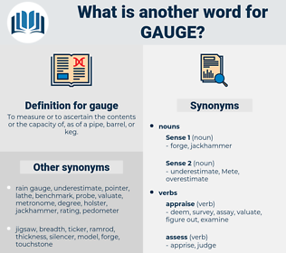 gauge, synonym gauge, another word for gauge, words like gauge, thesaurus gauge