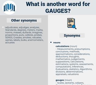 gauges, synonym gauges, another word for gauges, words like gauges, thesaurus gauges