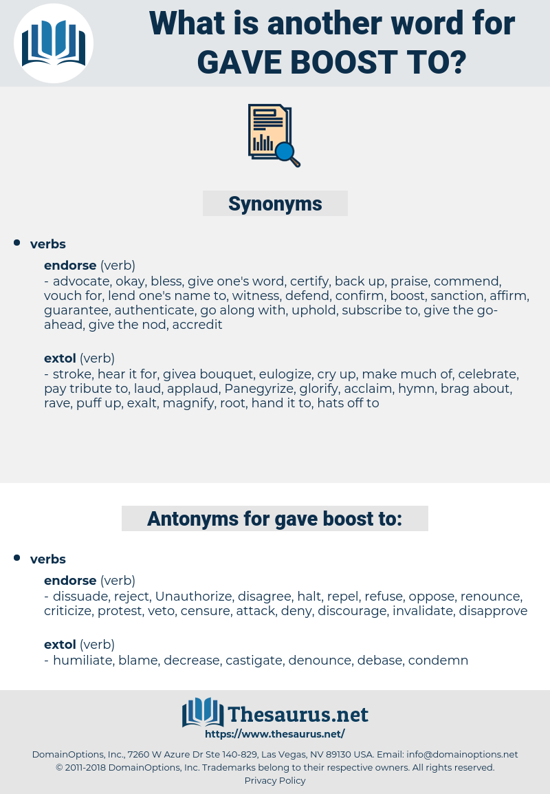 gave boost to, synonym gave boost to, another word for gave boost to, words like gave boost to, thesaurus gave boost to