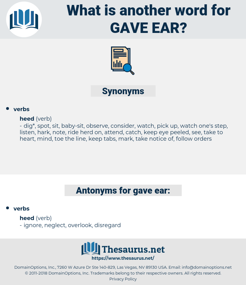 gave ear, synonym gave ear, another word for gave ear, words like gave ear, thesaurus gave ear
