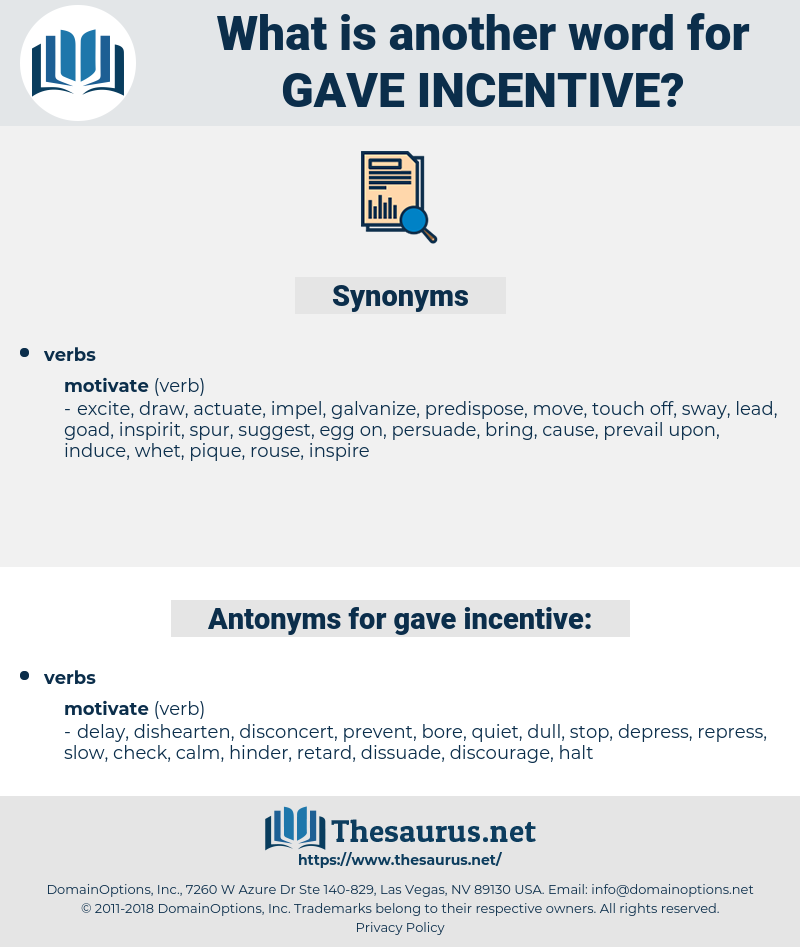 gave incentive, synonym gave incentive, another word for gave incentive, words like gave incentive, thesaurus gave incentive