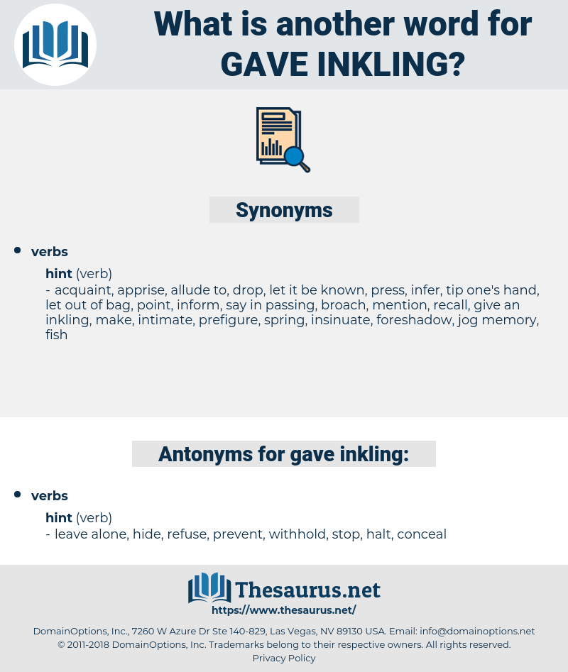 gave inkling, synonym gave inkling, another word for gave inkling, words like gave inkling, thesaurus gave inkling