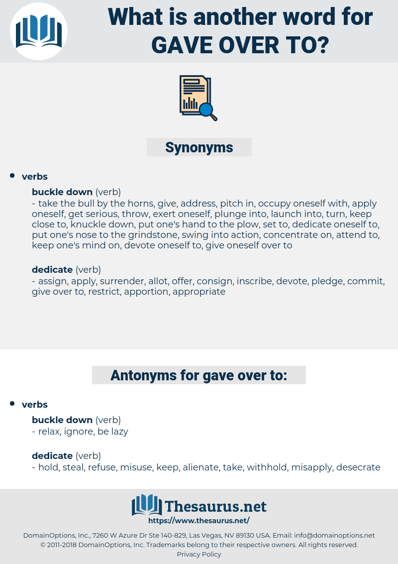 gave over to, synonym gave over to, another word for gave over to, words like gave over to, thesaurus gave over to