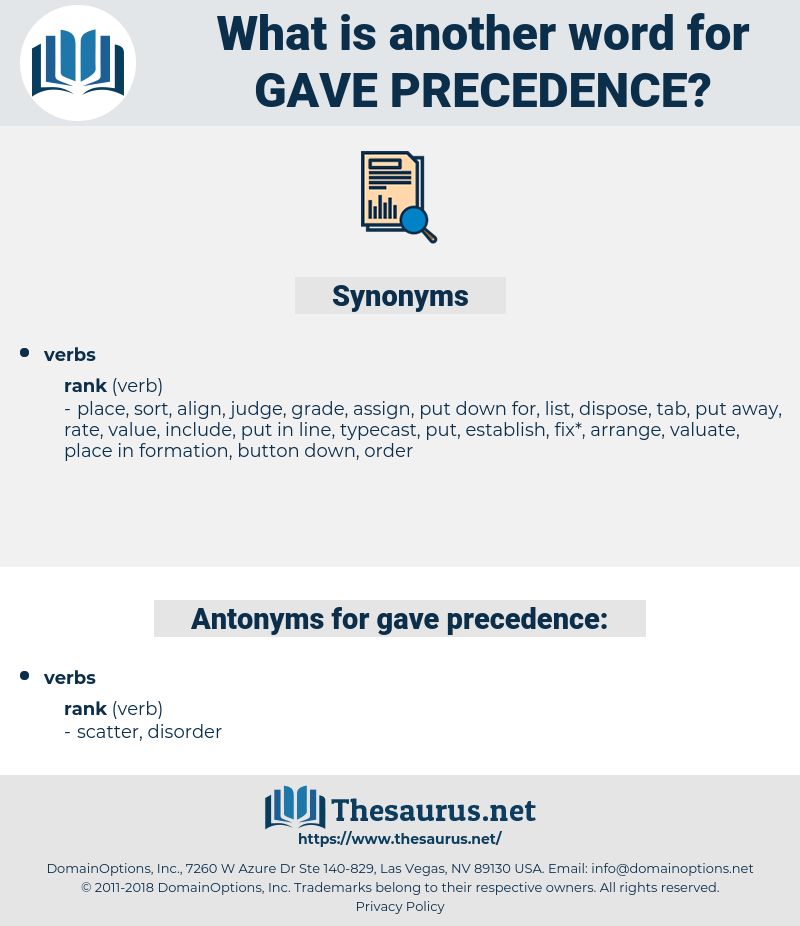 gave precedence, synonym gave precedence, another word for gave precedence, words like gave precedence, thesaurus gave precedence
