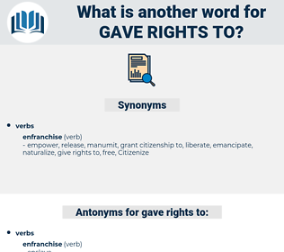 gave rights to, synonym gave rights to, another word for gave rights to, words like gave rights to, thesaurus gave rights to