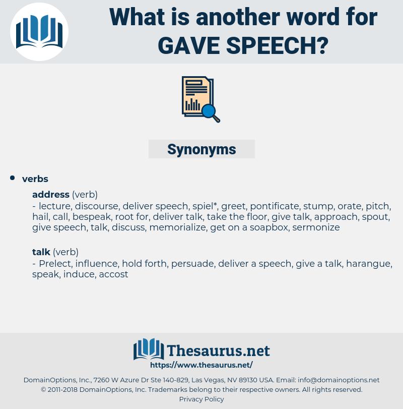 gave speech, synonym gave speech, another word for gave speech, words like gave speech, thesaurus gave speech