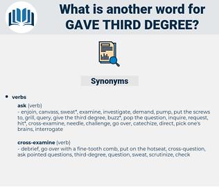 gave third degree, synonym gave third degree, another word for gave third degree, words like gave third degree, thesaurus gave third degree