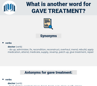 gave treatment, synonym gave treatment, another word for gave treatment, words like gave treatment, thesaurus gave treatment