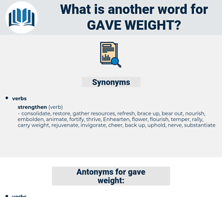 gave weight, synonym gave weight, another word for gave weight, words like gave weight, thesaurus gave weight