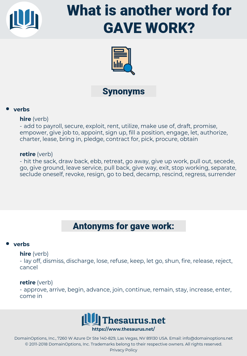 gave work, synonym gave work, another word for gave work, words like gave work, thesaurus gave work