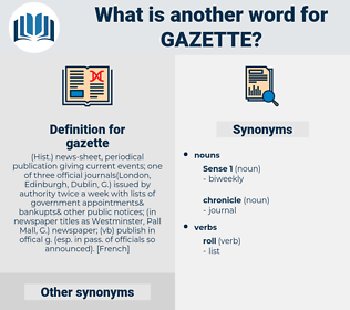gazette, synonym gazette, another word for gazette, words like gazette, thesaurus gazette