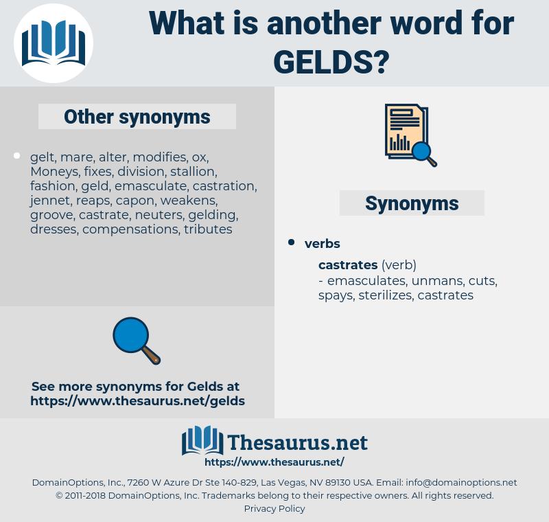 gelds, synonym gelds, another word for gelds, words like gelds, thesaurus gelds