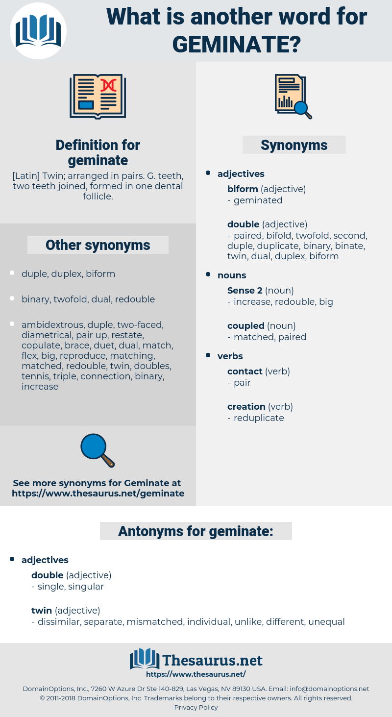 geminate, synonym geminate, another word for geminate, words like geminate, thesaurus geminate