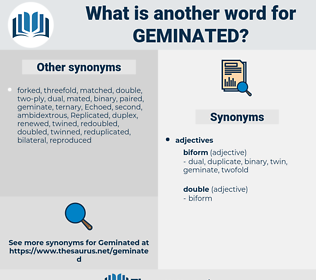 geminated, synonym geminated, another word for geminated, words like geminated, thesaurus geminated