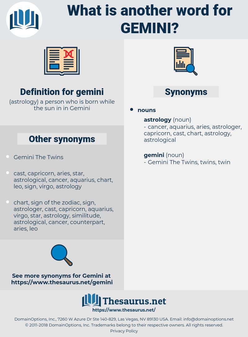 gemini, synonym gemini, another word for gemini, words like gemini, thesaurus gemini