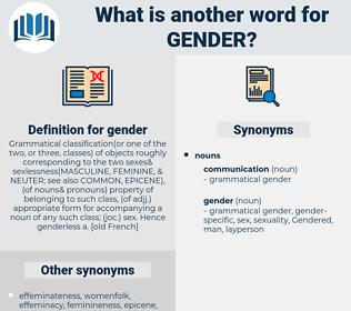gender, synonym gender, another word for gender, words like gender, thesaurus gender