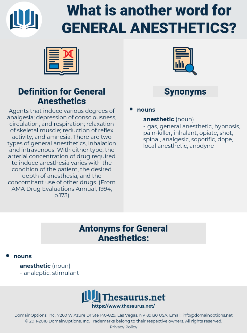 General Anesthetics, synonym General Anesthetics, another word for General Anesthetics, words like General Anesthetics, thesaurus General Anesthetics