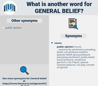 general belief, synonym general belief, another word for general belief, words like general belief, thesaurus general belief