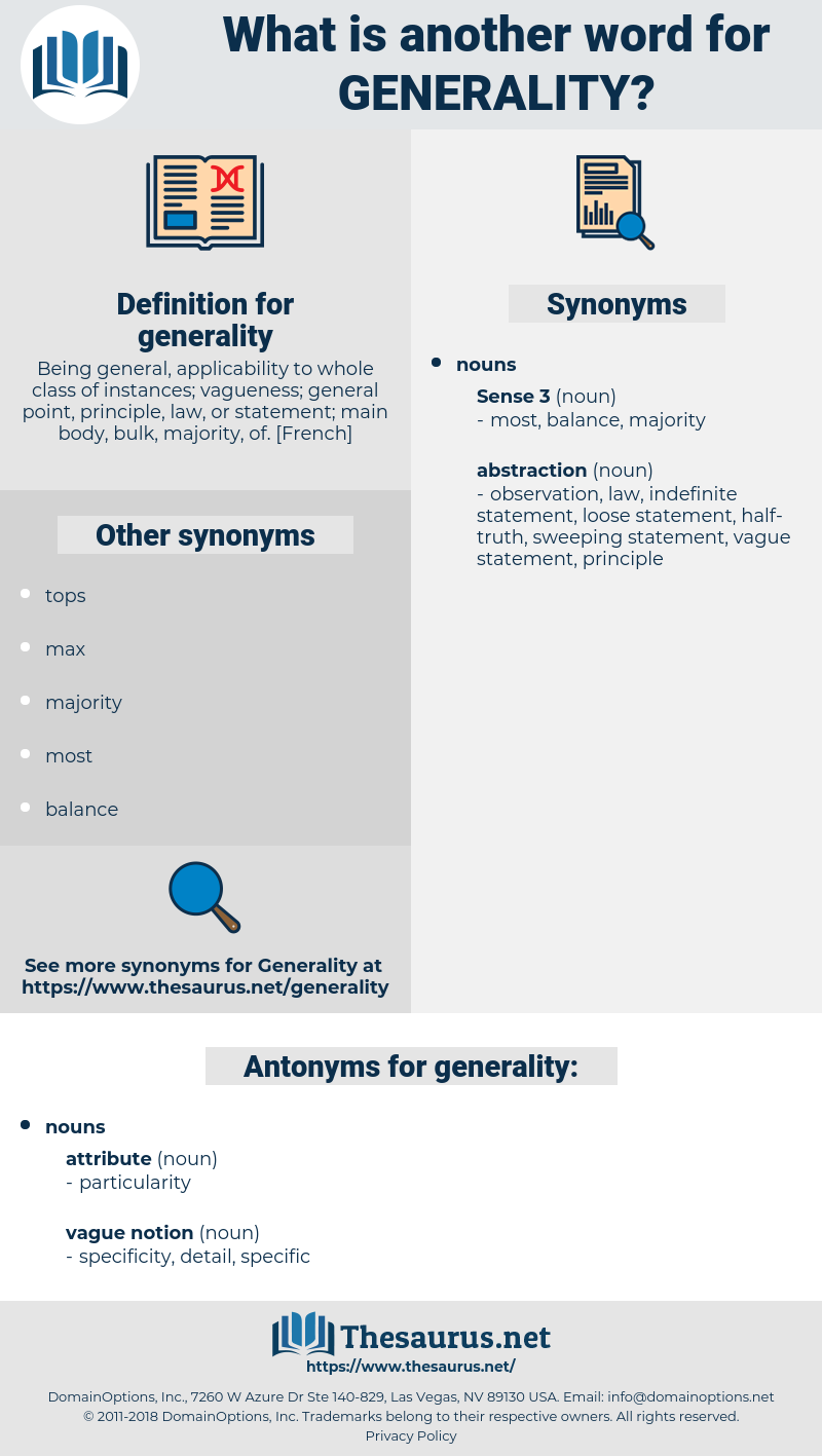 generality, synonym generality, another word for generality, words like generality, thesaurus generality