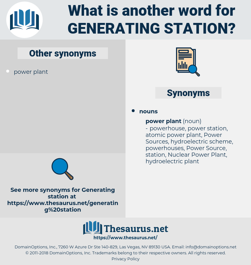 generating station, synonym generating station, another word for generating station, words like generating station, thesaurus generating station