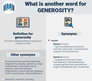 generosity, synonym generosity, another word for generosity, words like generosity, thesaurus generosity