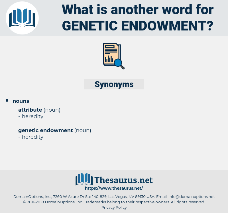 genetic endowment, synonym genetic endowment, another word for genetic endowment, words like genetic endowment, thesaurus genetic endowment