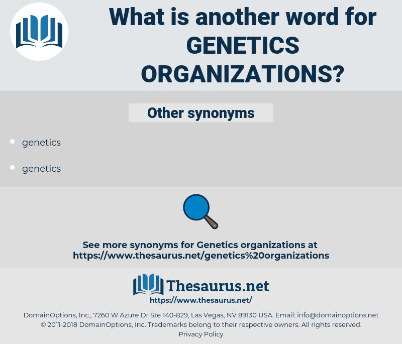 genetics organizations, synonym genetics organizations, another word for genetics organizations, words like genetics organizations, thesaurus genetics organizations