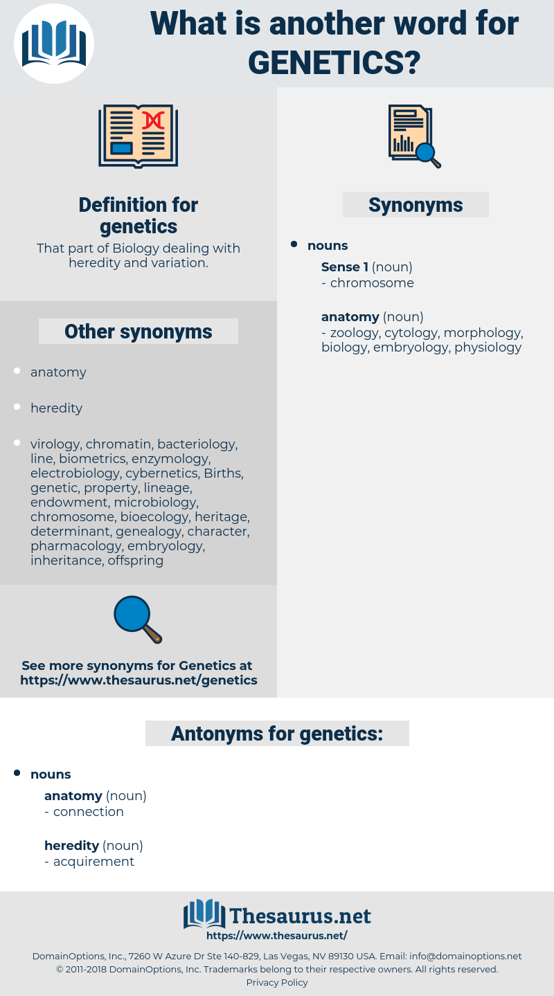 genetics, synonym genetics, another word for genetics, words like genetics, thesaurus genetics