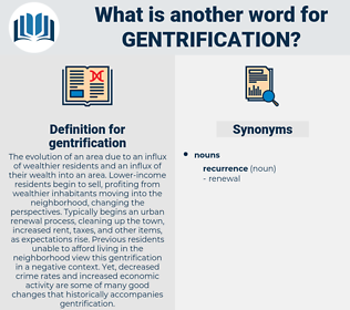 gentrification, synonym gentrification, another word for gentrification, words like gentrification, thesaurus gentrification