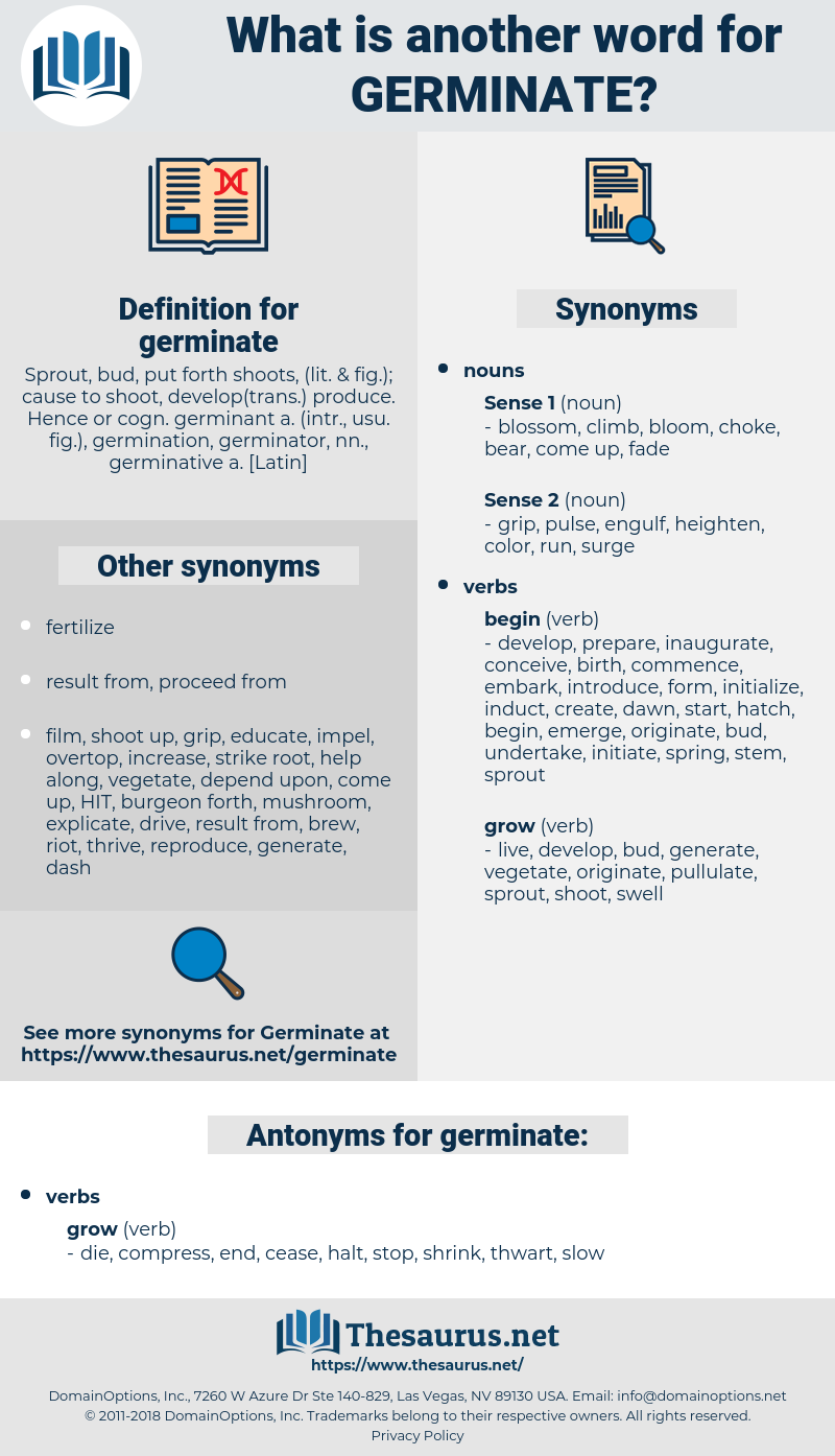 germinate, synonym germinate, another word for germinate, words like germinate, thesaurus germinate