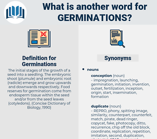 Germinations, synonym Germinations, another word for Germinations, words like Germinations, thesaurus Germinations