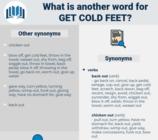 get cold feet, synonym get cold feet, another word for get cold feet, words like get cold feet, thesaurus get cold feet