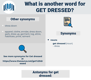 get dressed, synonym get dressed, another word for get dressed, words like get dressed, thesaurus get dressed