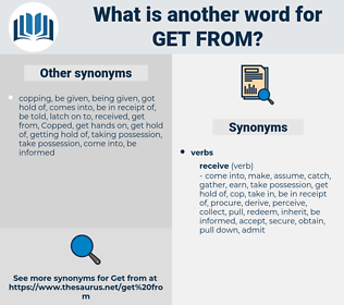 get from, synonym get from, another word for get from, words like get from, thesaurus get from