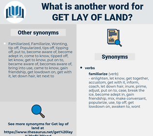 get lay of land, synonym get lay of land, another word for get lay of land, words like get lay of land, thesaurus get lay of land