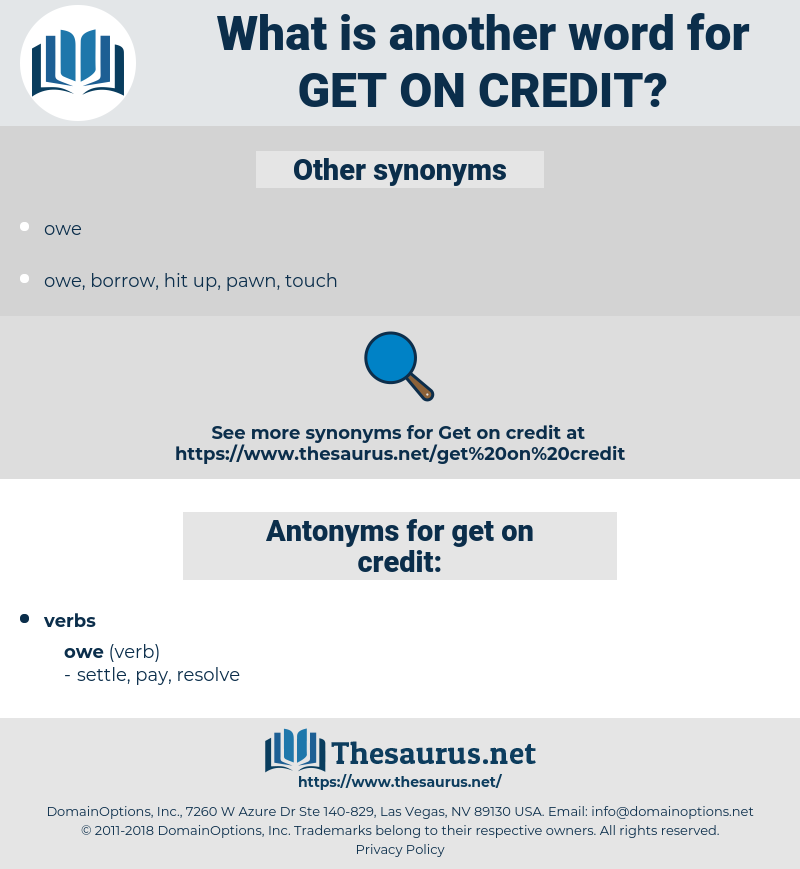 get on credit, synonym get on credit, another word for get on credit, words like get on credit, thesaurus get on credit