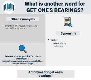 get one's bearings, synonym get one's bearings, another word for get one's bearings, words like get one's bearings, thesaurus get one's bearings