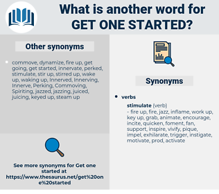get one started, synonym get one started, another word for get one started, words like get one started, thesaurus get one started