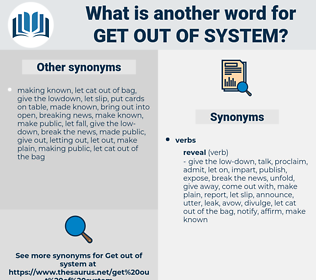 get out of system, synonym get out of system, another word for get out of system, words like get out of system, thesaurus get out of system