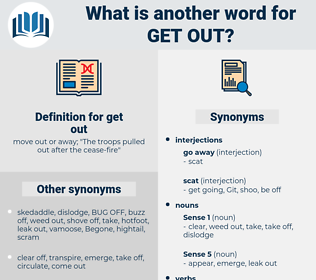 get out, synonym get out, another word for get out, words like get out, thesaurus get out