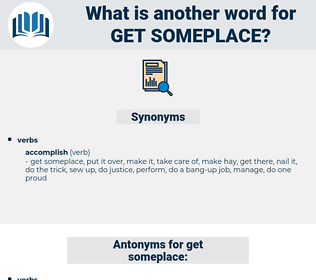 get someplace, synonym get someplace, another word for get someplace, words like get someplace, thesaurus get someplace