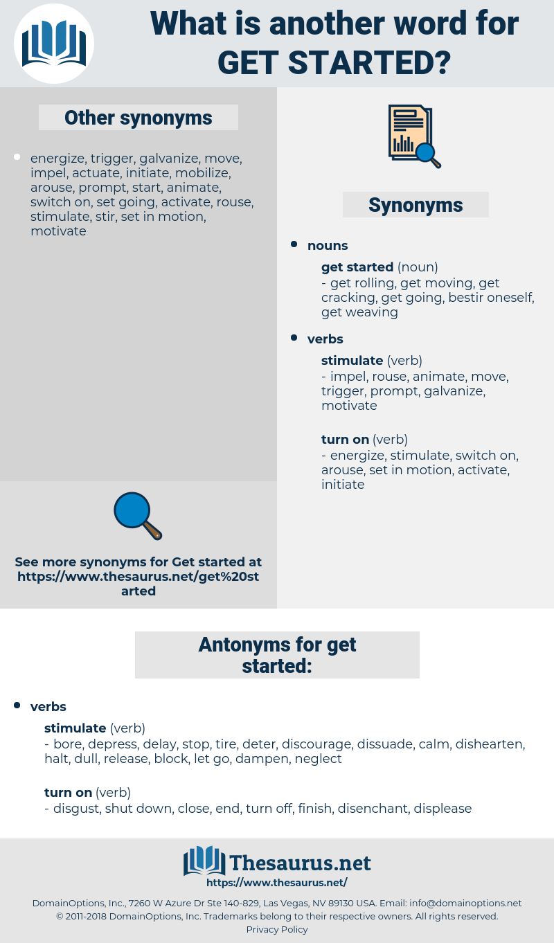 get started, synonym get started, another word for get started, words like get started, thesaurus get started