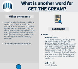 get the cream, synonym get the cream, another word for get the cream, words like get the cream, thesaurus get the cream