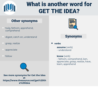 get the idea, synonym get the idea, another word for get the idea, words like get the idea, thesaurus get the idea